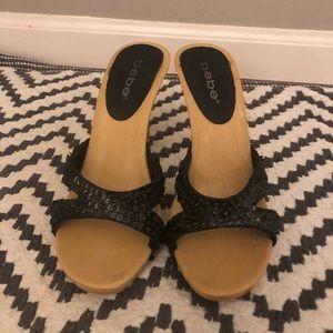 Bebe Black Sequence Size 7 High Heels